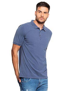 Camisa Polo Masculina Azul - Lavação Estonada