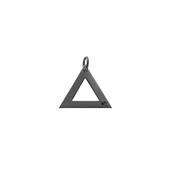 Pingente Triângulo Prata com banho de ródio negro e Diamante Negro