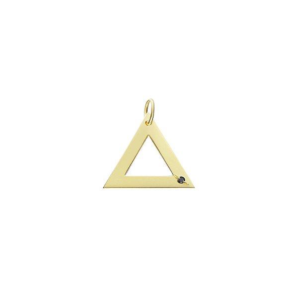 Pingente Triângulo Prata com banho de ouro amarelo e Diamante Negro