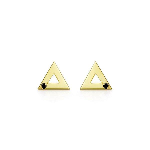 Brinco Triângulo Prata com banho de ouro amarelo e Diamante Negro P