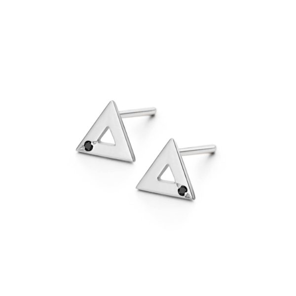 Brinco Triângulo Prata e Diamante Negro P