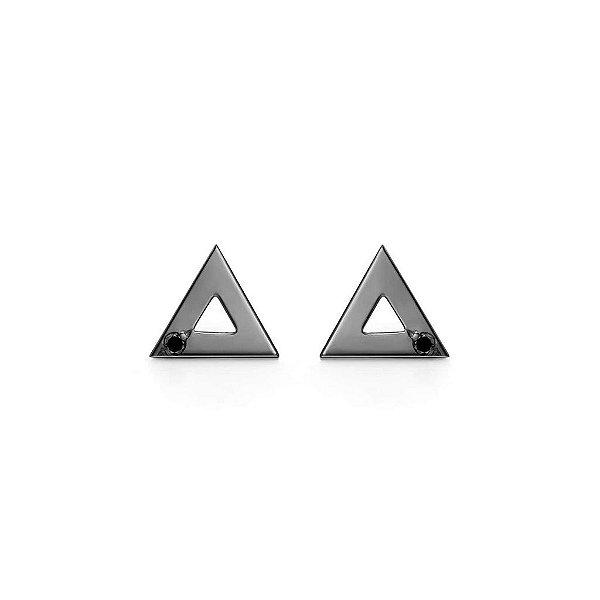 Brinco Triângulo Prata com banho de ródio negro e Diamante Negro P