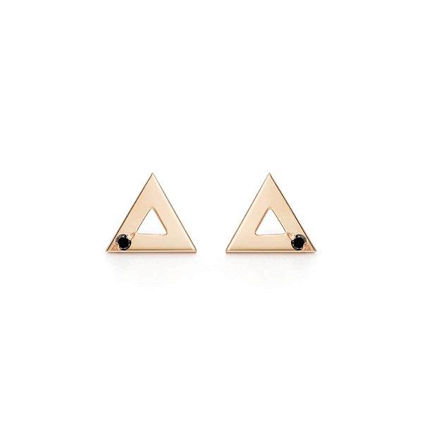 Brinco Triângulo Prata com banho de ouro rosé e Diamante Negro P
