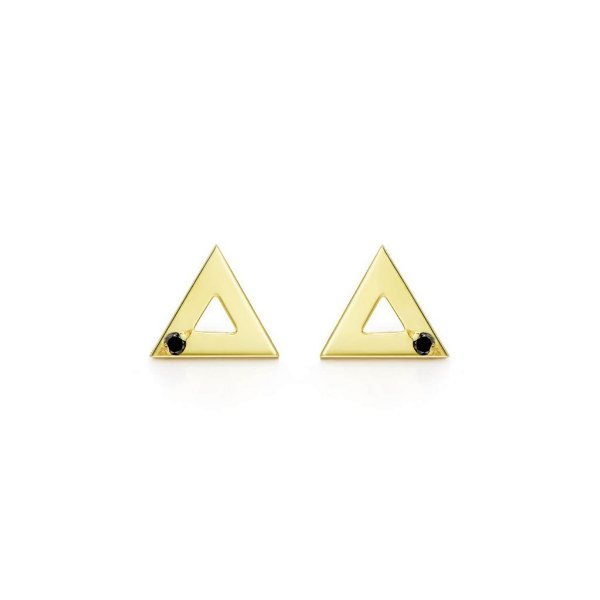 Brinco Triângulo Prata com banho de ouro amarelo e Diamante Negro - M