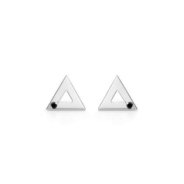 Brinco Triângulo Prata e Diamante Negro M