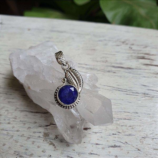 Pingente Folha Cristal - Lápis-Lazuli