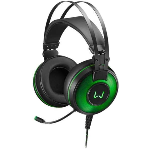 HEADSET PC WARRIOR PH259 7.1 LED VERDE SOM DIGITAL 7.1 USB