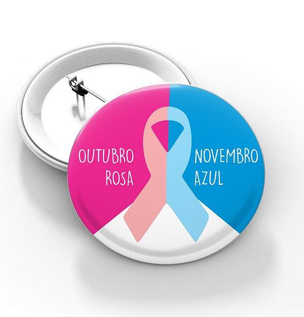 Boton outubro rosa e novembro azul - 3,8 cm - Modelo 01  - 100 Peças