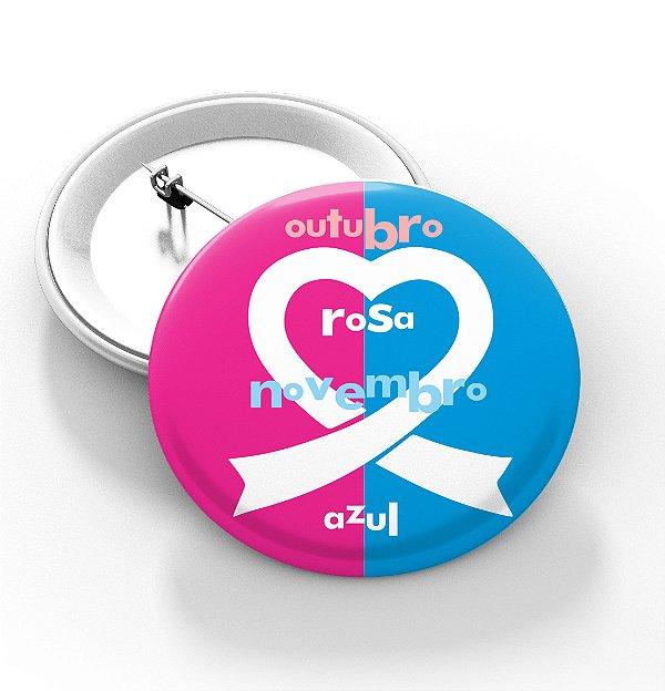 Boton outubro rosa e novembro azul - 3,8 cm - Modelo 12  - 100 Peças