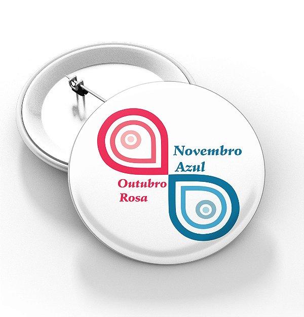 Boton outubro rosa e novembro azul - 3,8 cm - Modelo 26  - 100 Peças