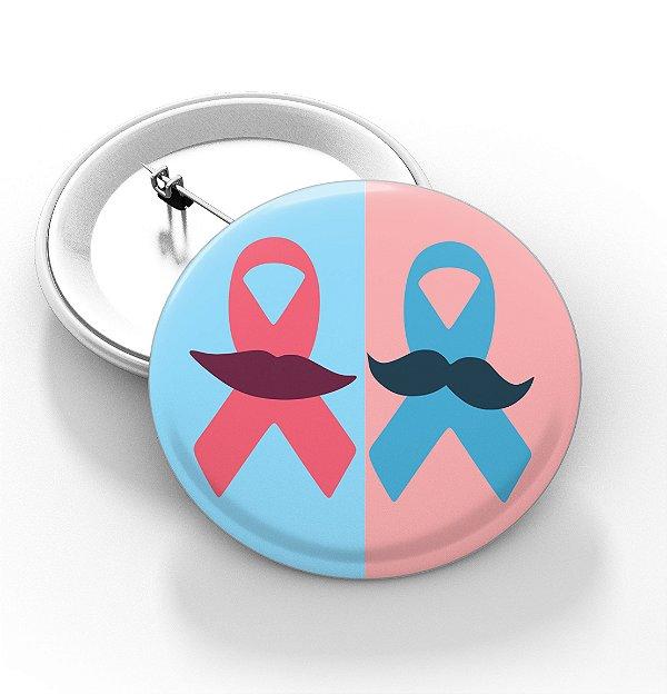 Boton outubro rosa e novembro azul - 3,8 cm - Modelo 29  - 100 Peças
