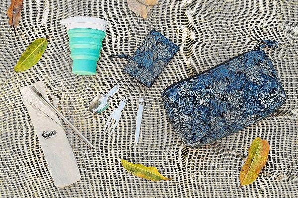 Kit Refeição Zero Lixo - Noite de Inverno - Necessaire Artesanal, Copo Retrátil de Silicone Menos 1 Lixo, Talheres Dobráveis de Metal, Canudos de Aço Inox