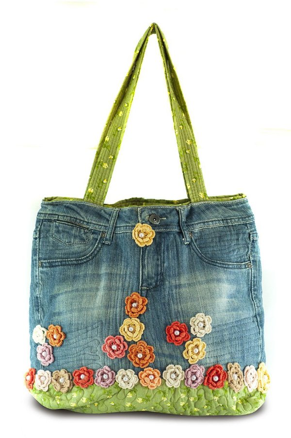 Bolsa Artesanal Feminina Calça Jeans Reciclada Exclusiva - Dona Flor