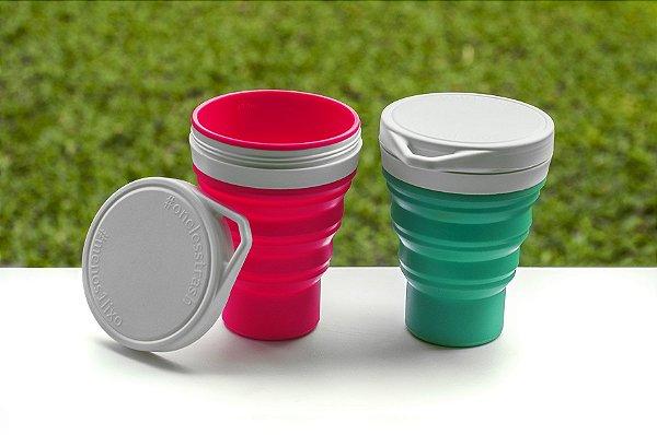 Copo Retrátil Silicone Menos 1 Lixo - Dobrável, Reutilizável