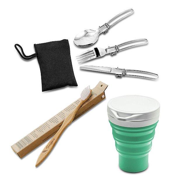 Kit Sustentável 3 pcs - Talheres dobráveis de metal, copo retrátil de silicone, escova de dentes de bambu