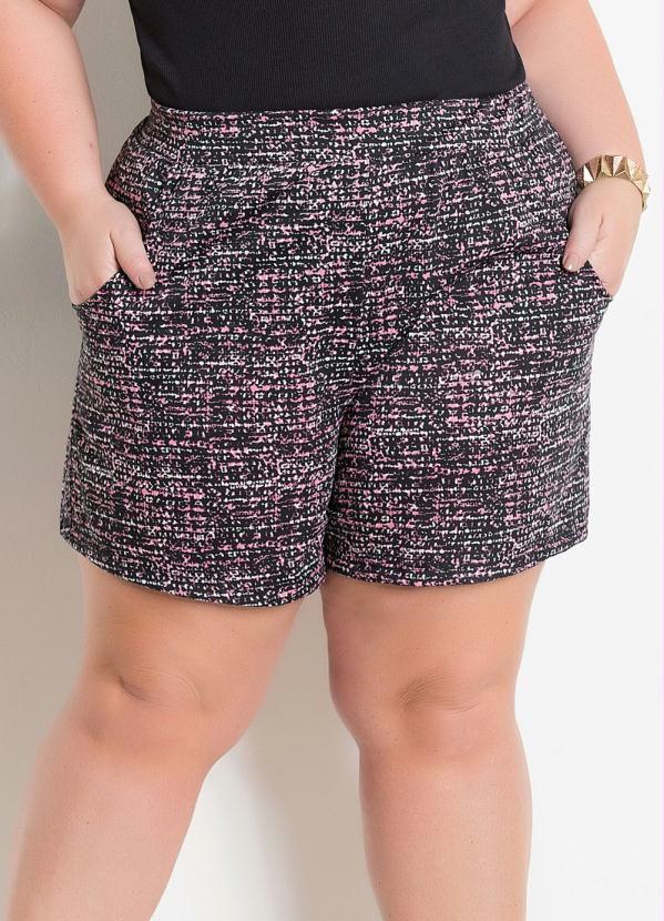 Shorts Com Bolsos Abstrato Plus Size