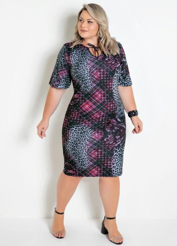 Vestido Onça E Xadrez Mangas 3/4 Plus Size
