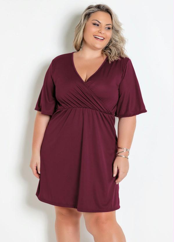Vestido Bordô Transpassado Plus Size