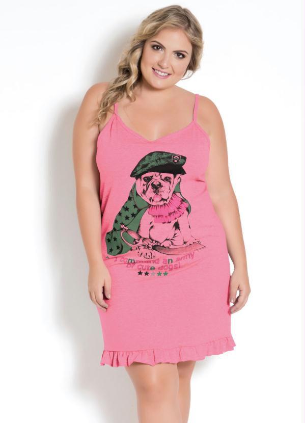 Camisola Plus Size Rosa Neon Com Babado
