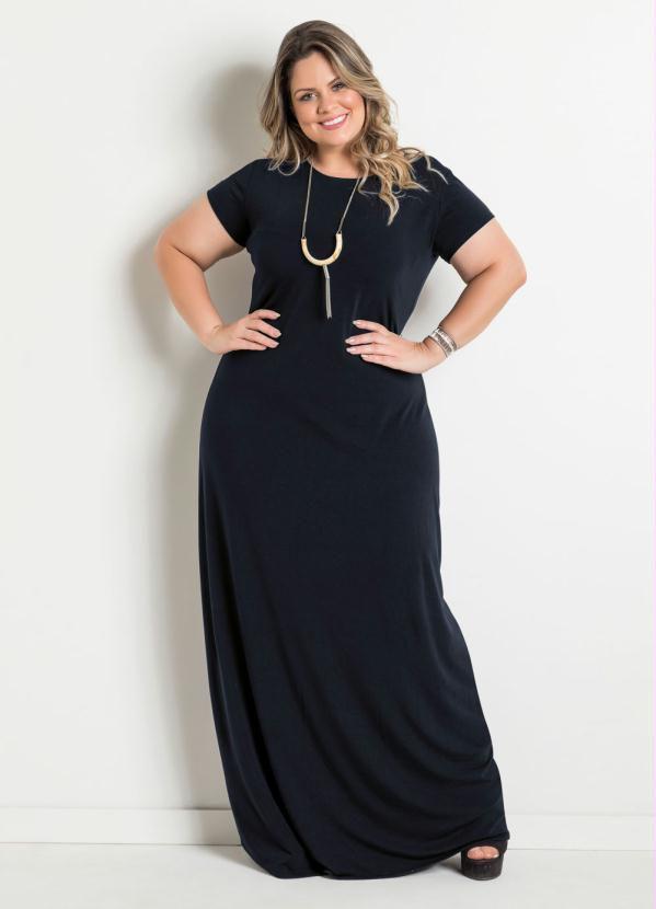 Vestido Longo Preto Plus Size