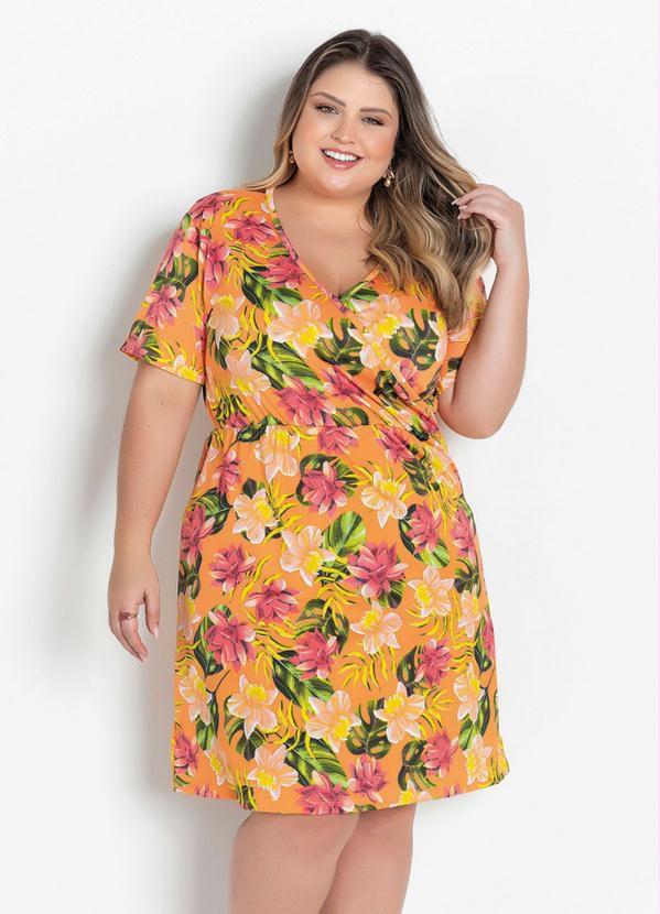 Vestido Transpassado Floral Laranja Plus Size