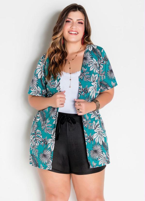 Kimono Oversized Plus Size Folhagem