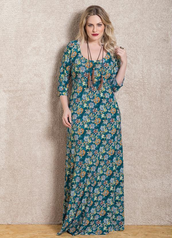 Vestido Longo Floral Mangas 7|8 Plus