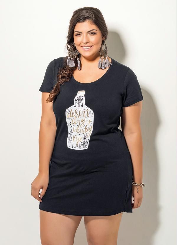 Vestido T-Shirt Preto Plus size
