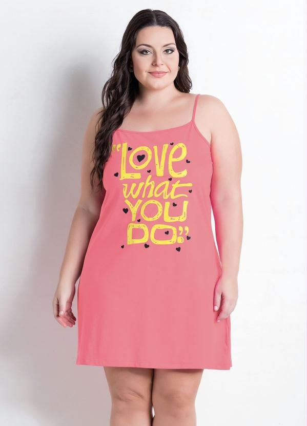 Camisola com alças Rosa Plus Size