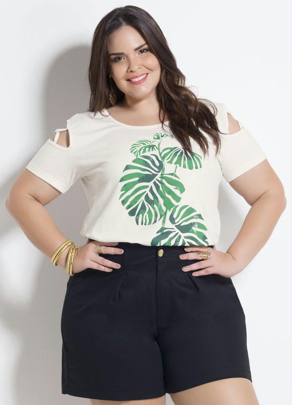 T-shirt com tiras off White Plus Size