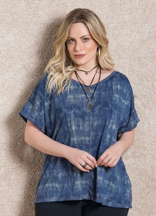 Blusa Soltinha Azul Plus Size