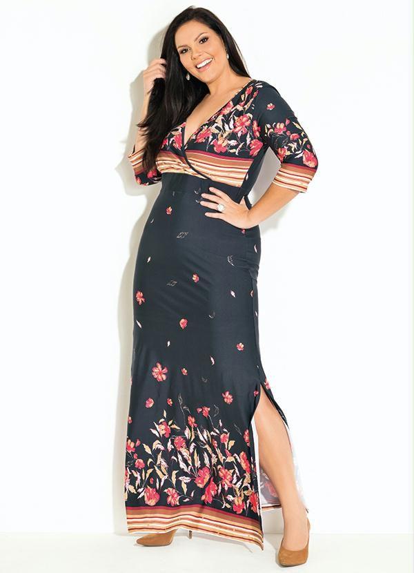 Vestido Longo Floral com Fendas Plus Size