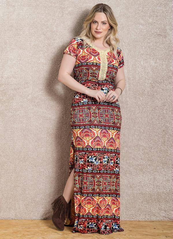 Vestido Longo Étnico com Fenda Lateral