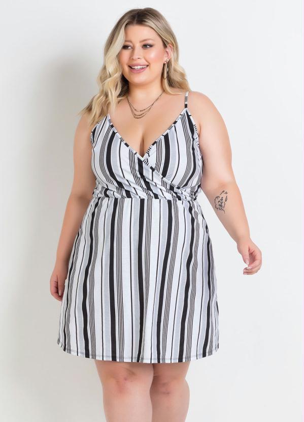 Vestido de Alças Transpassado Listrado Plus Size