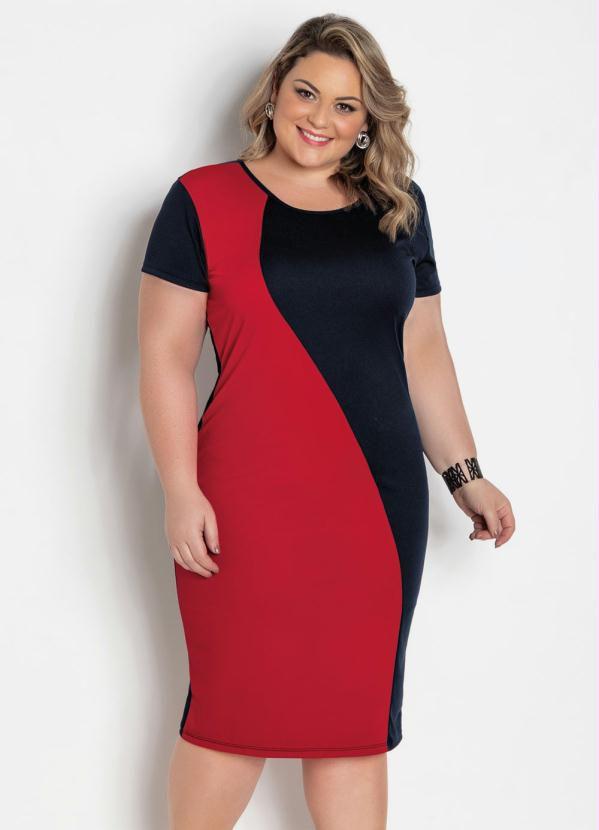 Vestido Midi Preto E Vermelho Plus Size