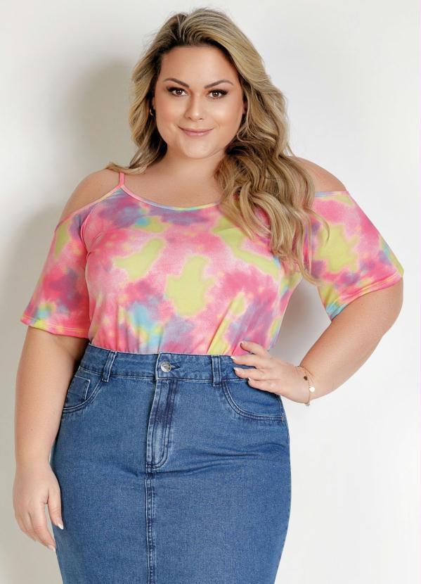 Blusa Tie Dye Com Alças Finas Plus Size
