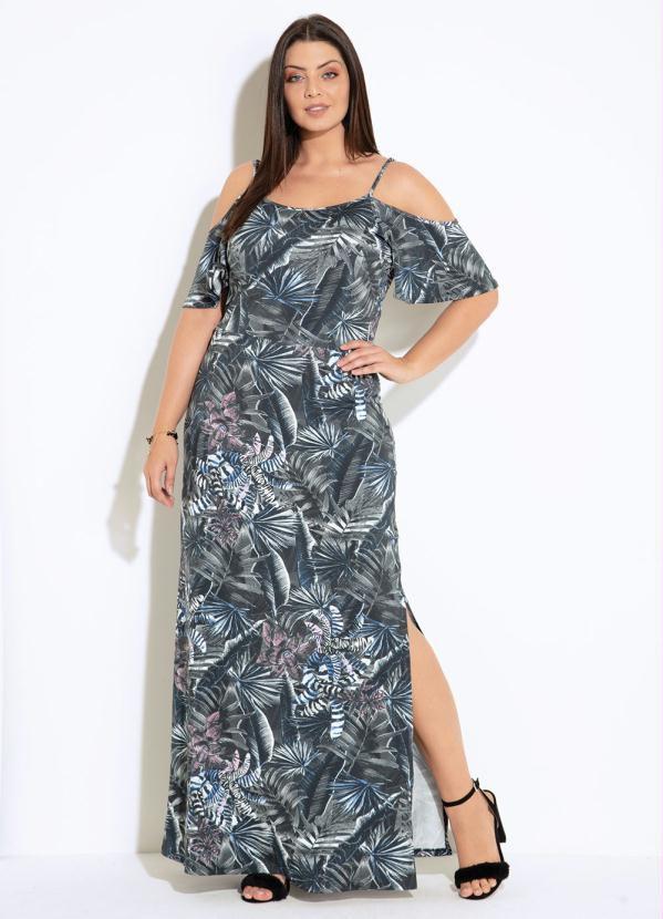 Vestido Floral Preto Com Fenda E Ombros Vazado