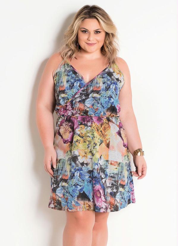 Vestido Floral Plus Size Com Alças E Transpasse