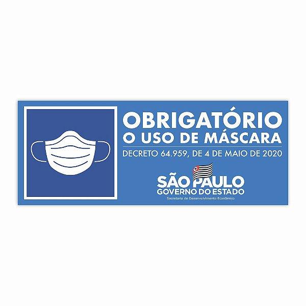 Adesivo Obrigatório Uso De Máscara Sp Oficial 33x13,5