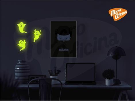 Adesivo Brilha No Escuro - 3 Fantasmas Halloween Novo