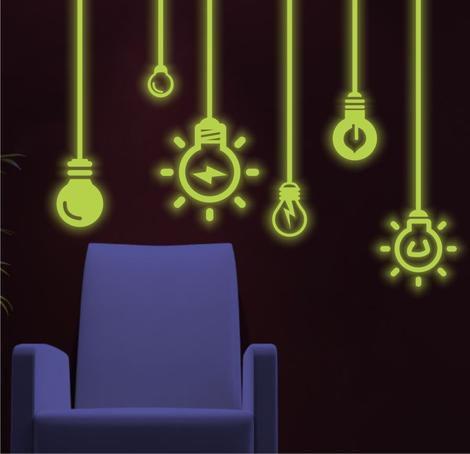 Adesivo Decorativo Brilha No Escuro Neon - Lâmpadas