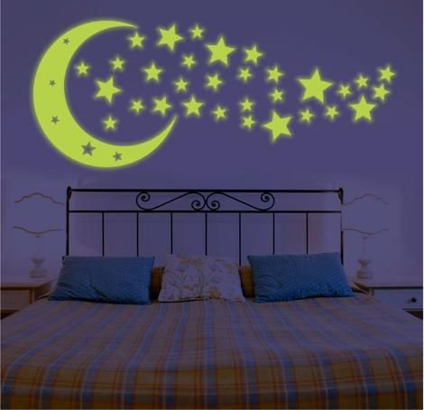 Adesivo Decorativo Brilha No Escuro - Estrelas - Lua
