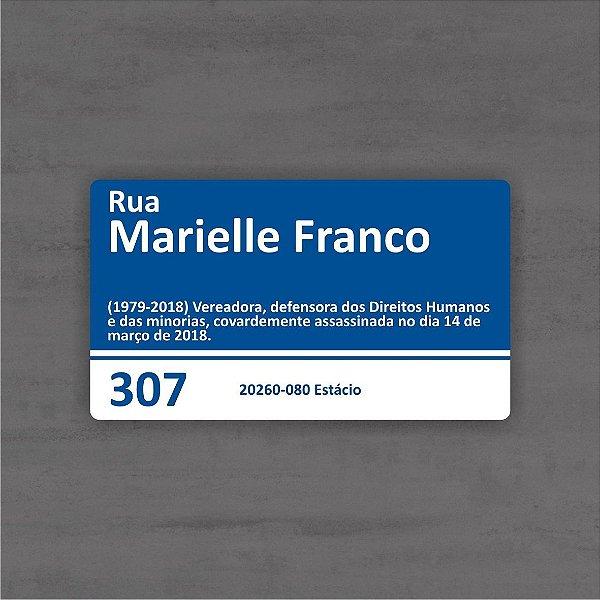 Placa De Rua Marielle Franco Rio De Janeiro Brasil 33x20 Cm