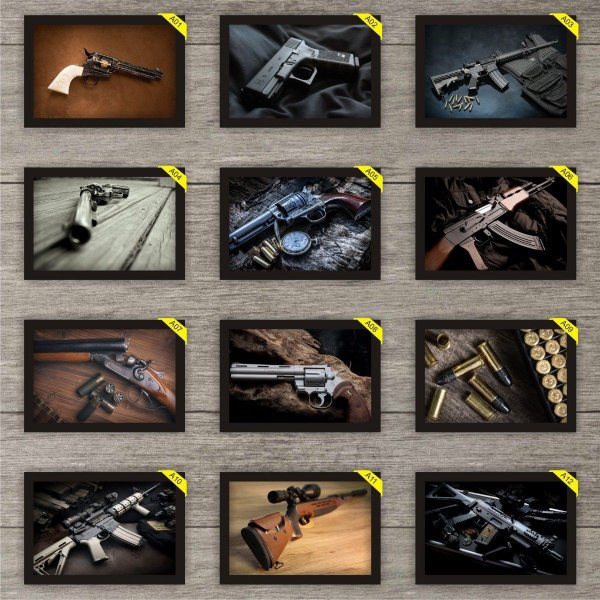 Kit de Quadros Placas Decorativas 30 cm x 20 cm Armas Guns com Moldura