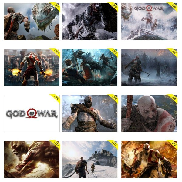 Quadros Placas Decorativas 30 cm x 20 cm God Of War Playstation