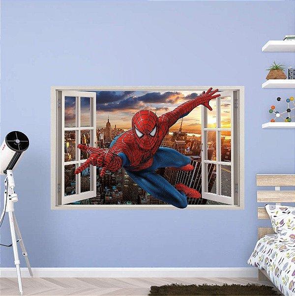Adesivo Parede - Janela 3D - Spider Man - Homem Aranha - Marvel - Modelo 04