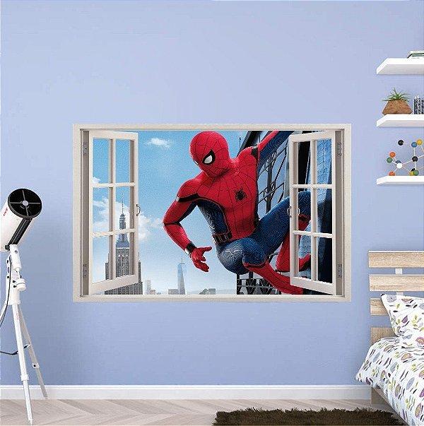 Adesivo Parede - Janela 3D - Spider Man - Homem Aranha - Marvel - Modelo 01