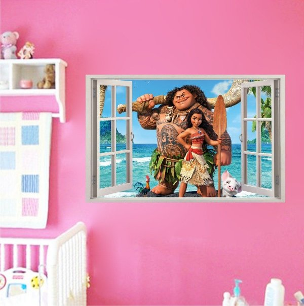 Adesivo Parede - Janela 3D - Moana - Disney - Modelo 01