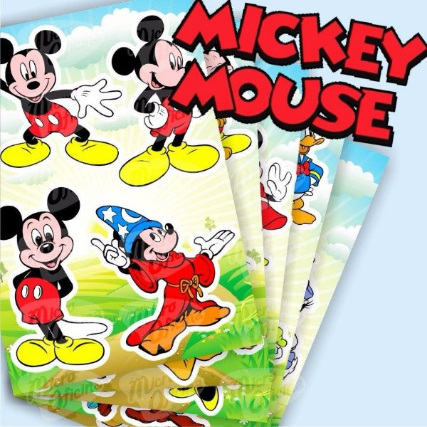 Kit com 5 Cartelas De Adesivos - Mickey Mouse