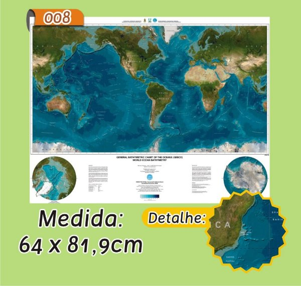 Mapa Mundi em Painel de Lona - Modelo 8